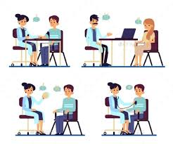 An Illustration Picture Of Two People Talking At A Table Going To Create An Agreement For Work