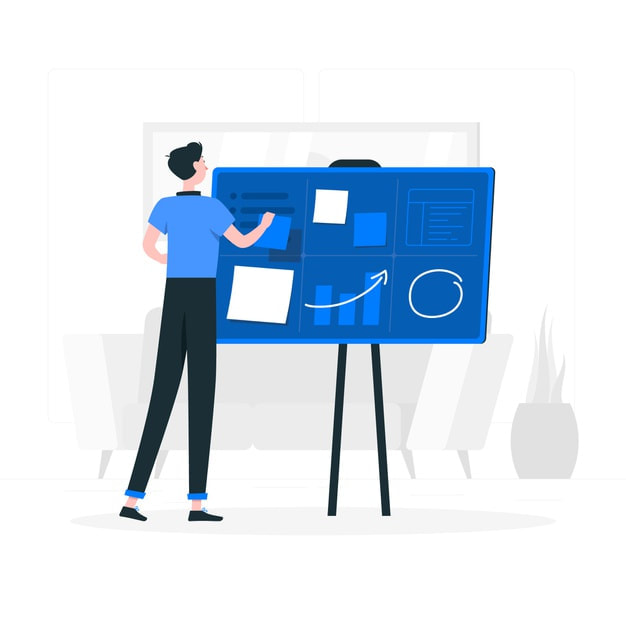An Illustion Of A Man Drawing On A Drawing Board For Digital Company Information